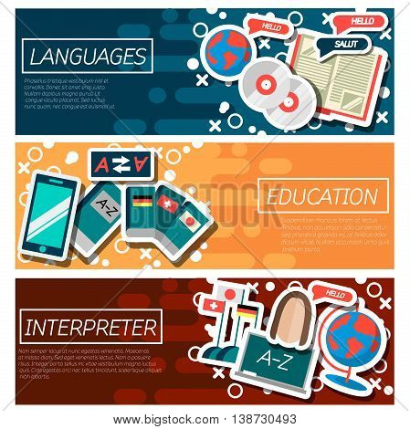 Set of Horizontal Banners about Languages education. Vector illustration, EPS 10