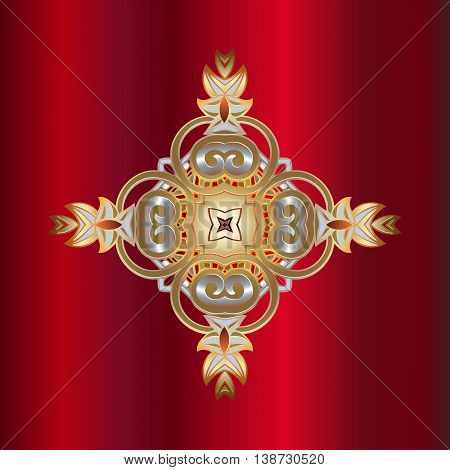 Traditional gold vintage decorative embossed decoration on a dark red background