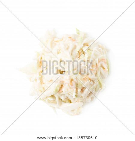Pile of creamy coleslaw salad isolated over the white background