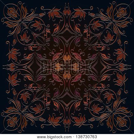 Decorative elements vector color pattern lace mandala on a dark background embossed under the skin