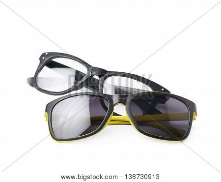 Two pairs of glasses isolated over the white background