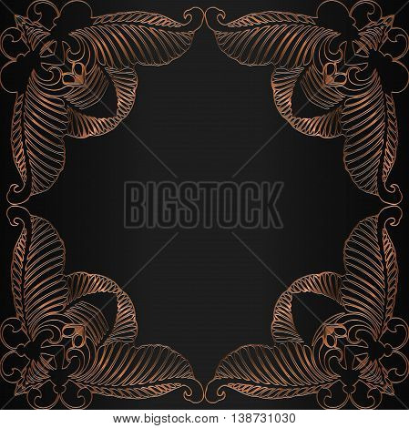 Vintage traditional decorative motif in bronze on a dark background