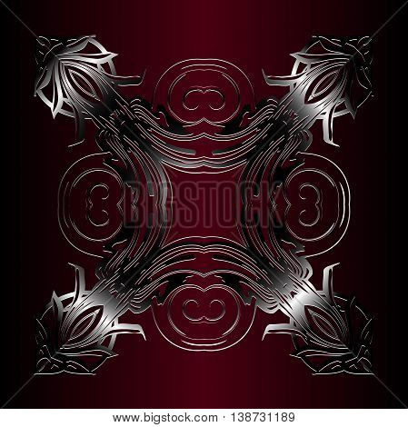 metallic embossed vintage pattern. Decor on a dark red background