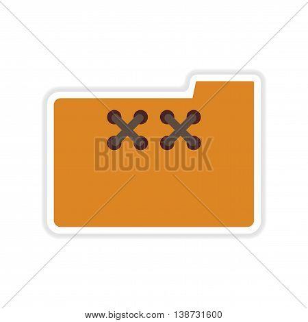 paper sticker on white  background file folder