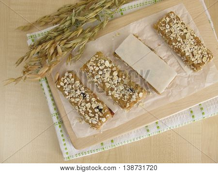 Homemade oat bars with nuts and raisins