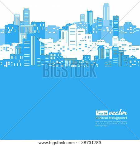Silhouettes of buildings . Urban cityscape .