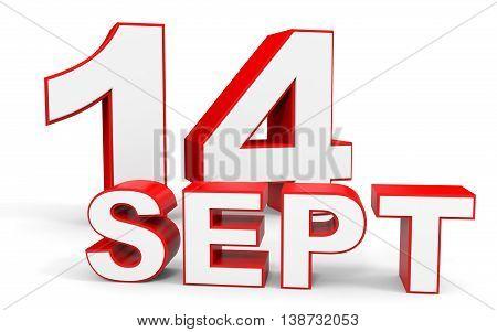 September 14. 3D Text On White Background.