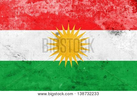 Flag Of Kurdistan, With A Vintage And Old Look