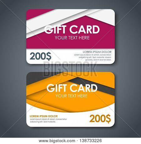 Gift Cards In Style Of Material Design