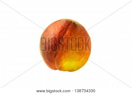 single peach isolated on white background close-up one colored