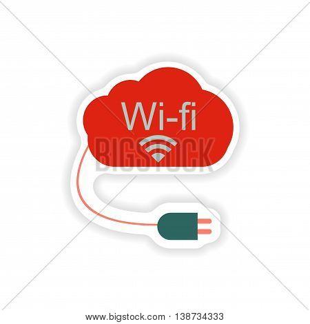 paper sticker on white background  Wi fi cloud
