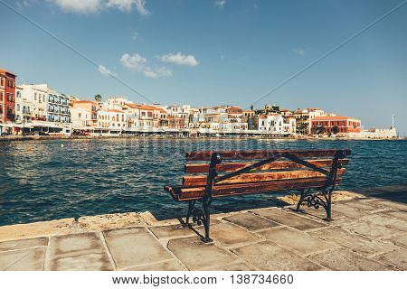 Empty Bench With View Of The Old Port In Chania, Crete, Greece