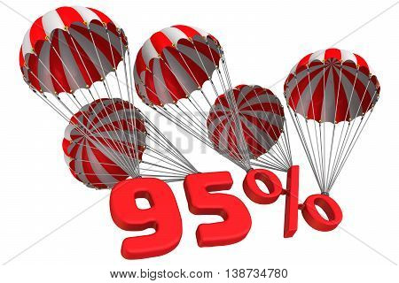 Ninety five percent is falling down on parachutes. Isolated. 3D Illustration