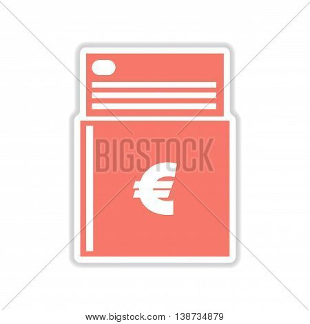 paper sticker icon on white background checkbook