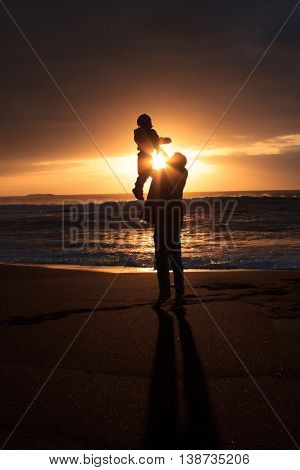 Happy Family At Beach , Father Holding Child