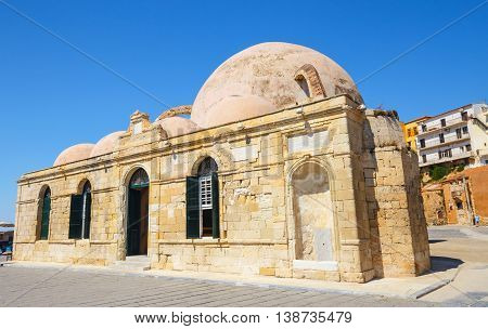 Mosque of the Janissaries or Giali Tzami Mosque in Chania on Crete Greece.