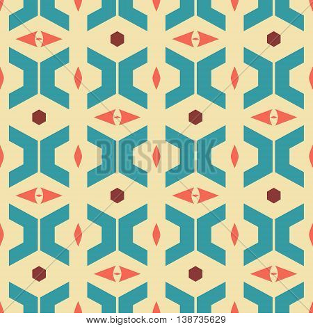 Abstract seamless retro style pattern of trapezoidal, sagittate, hexagonal elements. Geometric ornament in vintage colors. Vector illustration for fabric, paper and other