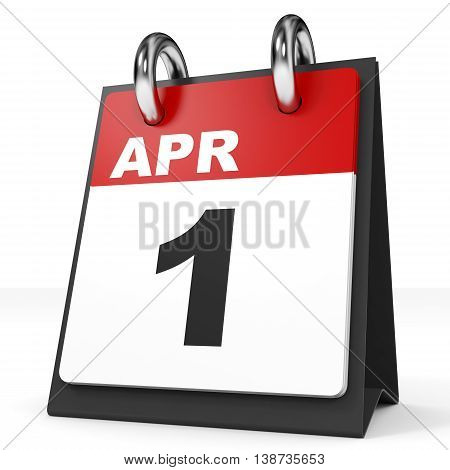 Calendar On White Background. 1 April.