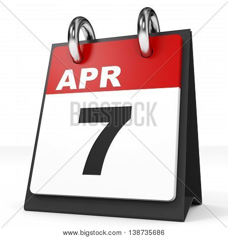 Calendar On White Background. 7 April.