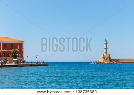 Chania, Crete - 25 Maj, 2016: Old Harbor In Chania, Greece. Chania Is The Second Largest City Of Cre