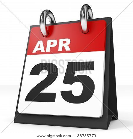 Calendar On White Background. 25 April.