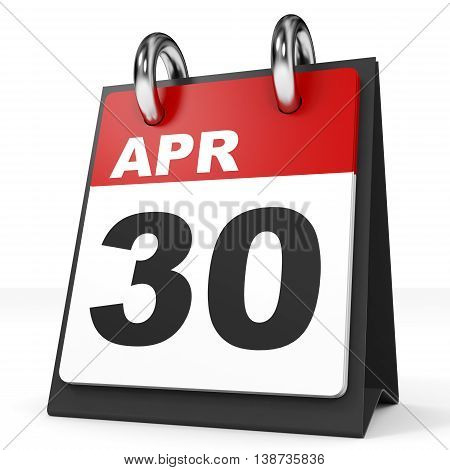 Calendar On White Background. 30 April.