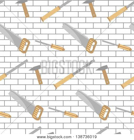Carpentry tools pattern design brick wall. Hammer and saw industry with instrument for service vector illustration