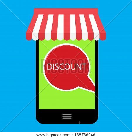 Discount online. Buy with use smartphone. Sale and shopping promotion and save money vector illustration