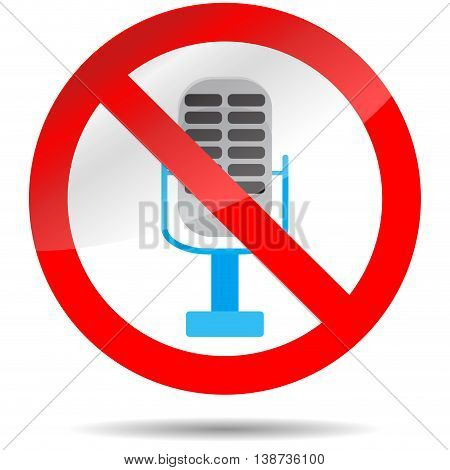 Icon ban microphone. Stop karaoke no voice icon ban music and sound vector illustration