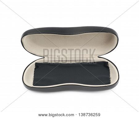 Opened black leather protection case box for glasses with the cleaning napkin cloth over it, composition isolated over the white background