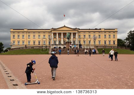 OSLO, NORWAY - JULY 1, 2016: This is the Royal Palace with the bronze equestrian statue of King Karl XIV Johan.