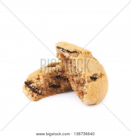 Soft chewy chocolate chip cookie broken in two halves, composition isolated over the white background