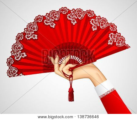 Female hand with open vintage red fan isolated on white. 3D illustration. Contains the Clipping Path