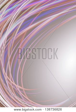 Beige glowing background covered white,pink,purple twisted lines