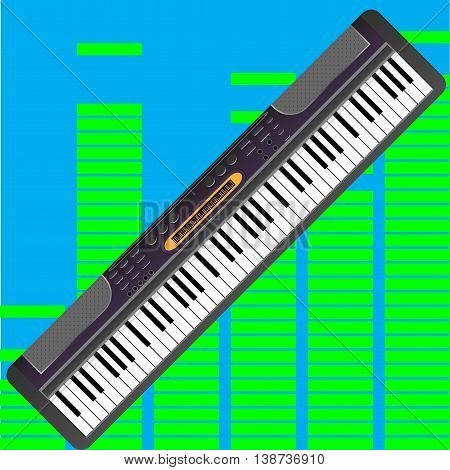 Electronic synthesizer isolated. Piano instrument and synthesizer with keyboard vector illustration