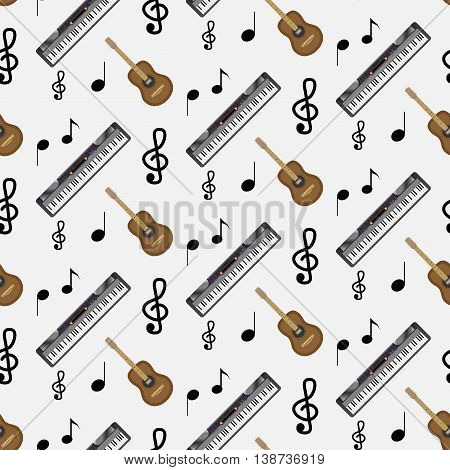 Pattern guitar synthesizer and notes. Instrumental artistic pattern with note music vector illustration