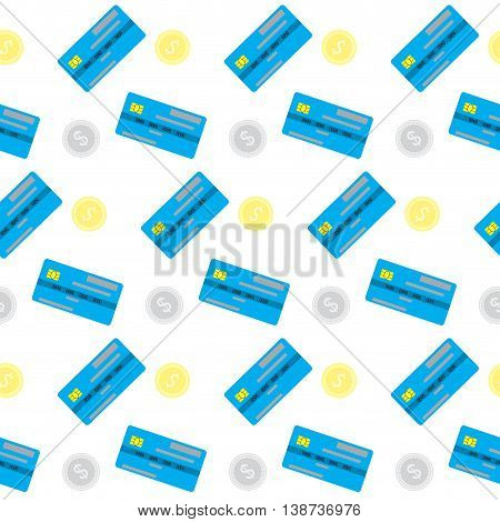 Seamless pattern money coin and credit card. Wealth and business finance currency vector illustration
