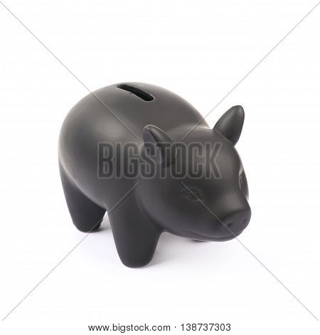 Black ceramic piggy bank coin container isolated over the white background