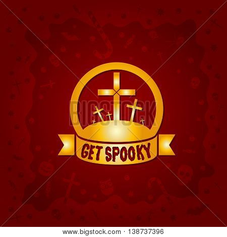 Beautiful Halloween background with golden graveyard crosses design and skulls, crosses, ghosts, zombies, coffins, bats and candies