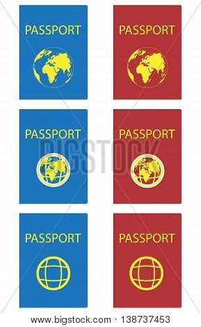 Set of passports red and blue. Passport page and passport isolated on white background. Vector illustration
