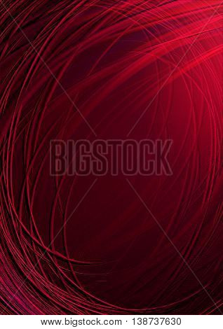 Twisted and crossing shining red stripes on dark red background