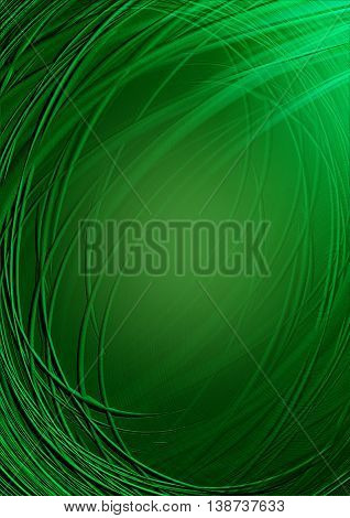 Twisted and crossing shining green stripes on dark green  background