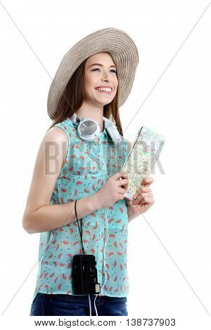 Portrait of happy tourist girl in hat on holiday on white backgraund