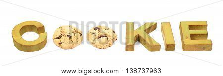Word Cookie made of cookies and colored with paint wooden letters, composition isolated over the white background
