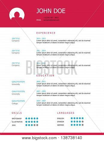 Pink and blue minimalist professional resume template