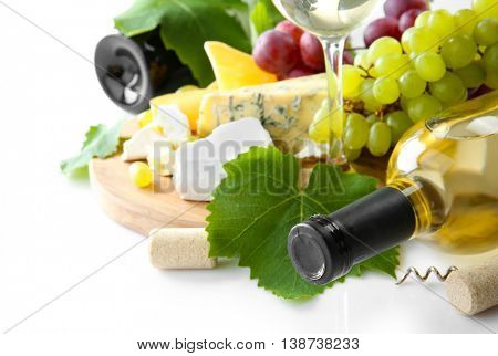 Wine with grapes and cheese, isolated on white