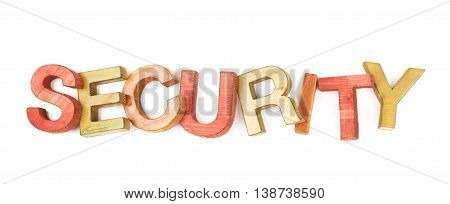 Word Security made of colored with paint wooden letters, composition isolated over the white background