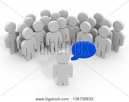 3D people on white background. Leader. 3D illustration.