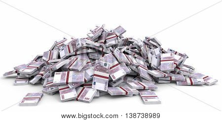 Money Heap. One Hundred Euro.