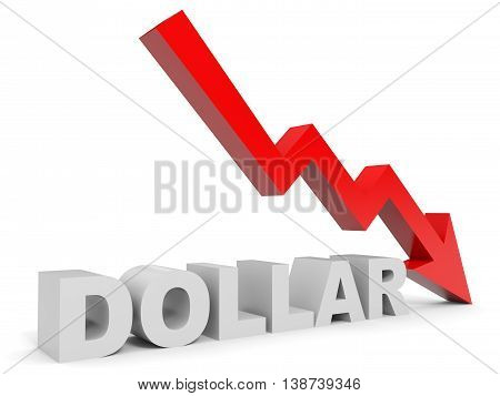Graph down dollar arrow on white background. 3D illustration.